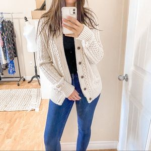 American Eagle Beige Button-Up Cardigan Size Med